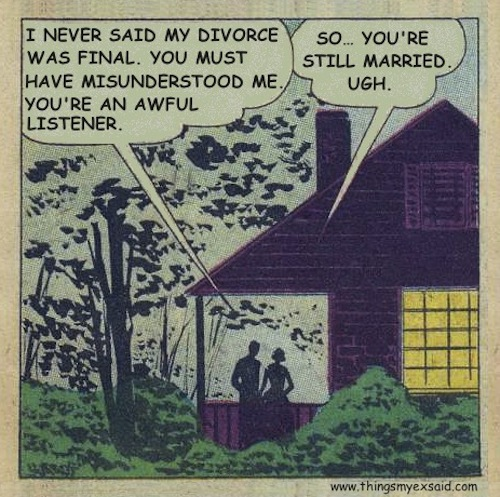 never said my divorce was final